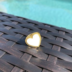 White And Gold Heart Adjustable Ring NWT